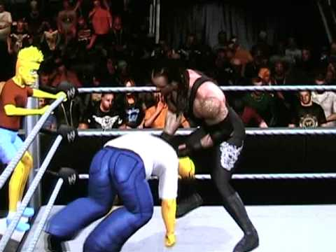 Homer and Bart Simpson Vs Kane and Undertaker