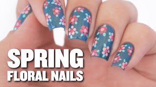 Easy Spring Floral Nail Art Design - YouTube