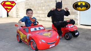 Disney Cars Lightning McQueen Kids Ride On Epic Race With Batman and Superman Ckn Toys