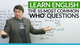 "Do you have trouble with asking questions in English? In this essential lesson, I look at some of the most common questions using ""who"". The word ""who"" is most often used as a pronoun in English, and it represents a person or persons in a sentence. Here are some examples: ""Who is it?"", ""Who's with me?"", ""Who's that?"", ""Who did that?"", ""Who won?"" There are too many ""who"" questions to list here, so watch the video to learn many more. This useful lesson will help you gain confidence and fluency in English.http://www.engvid.com/15-common-who-questions-in-english/TRANSCRIPTHey, everyone. I'm Alex. Thanks for clicking, and welcome to this lesson on: ""Common WHO Questions in English"". That's right, today I am Dr. Who for you. Woo, woo, woo, woo. That was not too bad. Right? Okay. So, today, if you've watched the other videos on common questions, this is the one for ""Who?"" So, just like those videos, we're going to practice the pronunciation, the fluency, and the structure of these questions. So I don't want to waste any time. Let's begin.First one, a very philosophical question: ""Who am I?"" Okay? So, this is also the title of a Jackie Chan movie, and it's also the title of another movie I think from the 2000s that's also action-based. So: Who am I? You know, if you're ever 16 years old, if you're 17, you're looking up at your ceiling while listening to whatever music kids listen to today, just: ""Who am I?"" You know? That's it. Just think about it.And: ""Who are you?"" So, you know, if you meet someone for the first time or if you think someone is acting rudely, you can be like: ""Who are you?"" Okay? Or, like: ""Who are you? I don't know you."" Like: ""Who are you?"" Are you, like, her brother or her sister, or who are you? I don't know. All right?And: ""Hey. Who's he?"", ""Who's she?"", ""Who's this?"", ""Who's that?"" Okay? So if you don't know someone and you're talking to a family member, a colleague, a friend, co-worker, and you want to know because you want to meet someone or you're curious about someone, and you can say: ""Hey. Who is that?"", ""Who is she?"", ""Who is he?"", ""Who's this?"" Okay?All right, so these three because they're common, you know, they say: ""Who am I?"", ""Who are you?"", ""Who is she?"", ""Who is he?"", ""Who is this?"", ""Who's that?"" I said them very quickly, and now I want you to repeat them after me. So repeat after me: ""Who am I?"", ""Who are you?"", ""Who's he?"", ""Who's she?"", ""Who's this?"", ""Who's that?"" All right, very good.Now, next, similar style of question: ""Who is the _________?"" Here, you have many possibilities, many different titles that you can use in this question. So: ""Who's the president?"" If you... If you're travelling to a new country and you don't know about the political system or the political leaders, or you're just curious about the political leader in a country or a place, you can say: ""Who's the prime minister there?"", ""Who's the president?"", ""Who's the new guy?"" or ""the new girl"", right? So, if you're working in a company and someone new comes in, and maybe you never met them before, very common question: ""Hey. Who's the new guy?"", ""Who's the new girl?"" Like, where...? Where did they come from? Okay?""Who's the teacher?"" So you're taking a class in university and you're looking at the name of the class, and you're like: ""Oh, this sounds interesting. Who's the teacher? Who teaches that class?"" Okay? ""Who's the leader?"", ""Who's the goalie?"" Right? So if you're trying to gamble and make a bet on a team, and you want to know, you know, in hockey or in soccer/football, depending on where you're from, you want to know: ""Hey. Who's the goalie for that team? Who's in net? Who's blocking the shots?"" Because if it's someone who's bad, then maybe I will bet on the other team.Or: ""Who's the boss?"" This is only a reference. I only put this here to reference a 1990's TV show with Tony Danza, and I don't remember the actress' name in the show. She was Angela. Who's the Boss? Anyone? If you're like under 25, you probably don't know. I'm sorry.Okay, and next, I drew a door. Very common question if someone knocks on your door: ""Who's there?"", ""Who is it?"" Okay? So, again, you can also say, you know: ""Who's there?"" or ""Who is it?"" if you hear someone in a room and you thought you were alone, you can say, like: ""Who's there?"" Also very common in horror movies or thrillers, like: ""Who is it? Who's there?"" Okay?Next: ""Who's coming?"" or ""Who's going?"" So, you know, your friend is having a birthday party and you want to know about how many people will be there or who will be there, so you can ask: ""Who's coming?"" or ""Who's going? Who's going to the party?"" Okay? All right.Now, let's go back a little bit and repeat these with me. So we'll do three and three. ""Who's there?"", ""Who is it?"", ""Who's coming?"", ""Who's going?"" Okay?"