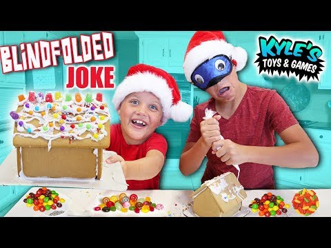 Blindfolded Gingerbread House GAME! Candy Christmas Cookie House Kit!