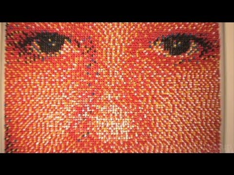 Master of business card throwing omg lolol portrait made of 15000 push pins reheart Image collections