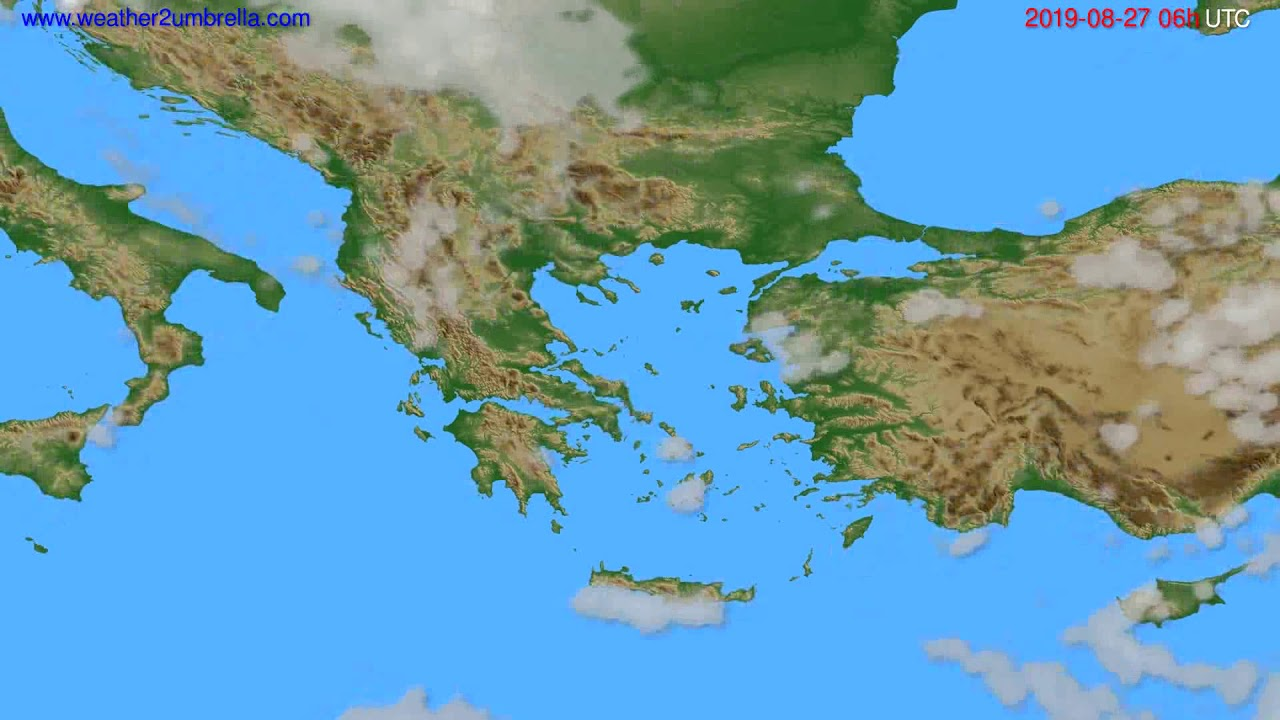 Cloud forecast Greece // modelrun: 12h UTC 2019-08-24