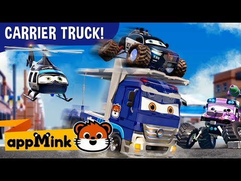 #appMink  Carrier Truck, Police Car, Fire Truck & Helicopter catch Evil Bus | kids videos 100mins