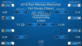 2016 Ron Massey Memorial Bracket.  In addition to tournament play, there will be a number of showcase games as well.  Games to be played at Lynwood High School in Lynwood, CA.   Full schedule courtesy fullctpress.net:                                      Court 11:40pm Cantwell vs. Rancho Christian (showcase game) 2:50pm Harvard-Westlake vs. Lynwood (showcase game)4:00pm Mater Dei vs. Crespi 5:10pm Bishop Gorman vs. Santa Margarita6:20pm Long Beach Poly vs. Corona Centennial7:30pm Bishop Montgomery vs. Corona Roosevelt    Court 21:40pm Long Beach Jordan vs. Price (showcase game)2:50pm Gahr vs. TBA  (showcase game)4:00pm Oak Park vs. Heritage Christian (showcase game)5:10pm Rancho Christian vs. Pasadena (showcase game)6:20pm Orange Lutheran vs. Redondo Union (showcase game)7:30pm Game TBA (showcase game)Sunday September 11thCourt 19:00am Loser 4:00pm Game vs. Loser 6:20pm Game10:10am Loser 5:10pm Game vs. Loser 7:30pm Game11:20am Winner 4:00pm Game vs. Winner 6:20pm Game (Semi-Final I) 12:30pm Winner 5:30pm Game vs. Winner 7:30pm Game (Semi-Final II)1:40pm 7th Place Game2:50pm 5th Place Game4:00pm Third Place Game5:10pm Championship GameCourt 210:10am Lynwood vs. Taft (showcase game)11:20am Harvard-Westlake vs. Cantwell (showcase game)12:30pm Chaminade vs. Pasadena (showcase game)1:40pm Crossroads vs. Compton (showcase game)2:50pm Orange Lutheran vs. Chaminade (showcase game)* Daily Fan Admission Fee will be $10.00 Schedule courtesy:  www.fullctpress.net