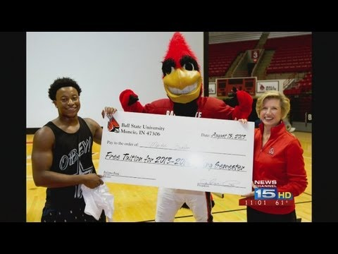 tuition - A Ball State University freshman will get a free semester of out-of-state tuition after making a half court basketball shot. Markus Burden, of Frankfort, Ill...