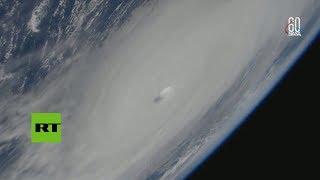 Vista desde la EEI del huracán Michael golpeando Estados Unidos