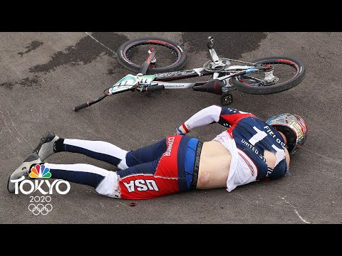 American Connor Fields crashes on first turn of BMX semifinal run | Tokyo Olympics | NBC Sports