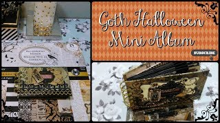 Halloween Mini Album 2017. This Goth style halloween mini album is for my daughter. She didn't want it chunky. In fact, she didn't want me to do much embellishing in the pages. But she did give me artistic freedom for the cover! I hope you like my gothic style halloween mini album. I have more Halloween paper crafting coming soon! Stay tunned! Thank you for watching.To make the pocket pages I used Spellbinders Paper Bag Envelope S6-118 http://shrsl.com/jacaTim Holtz Die for the front Sizzix Hanging Sign 656631  http://amzn.to/2vvx0YVDie I used to adorn every pocket page Spellbinders Die D-lites Outrageous Butterly S2-069   http://shrsl.com/jb1lSpiderweb die I used on the back cover Spellbinders Spooky Halloween Die set DOM-Sep16   http://shrsl.com/jb1nSpider die I used for spider on the back cover Sizzix Candlelight Fright 657456   http://amzn.to/2hADSOHSizzix die I used for gate on front cover Sizzix Iron Gate 656918   http://amzn.to/2vvn9Cl