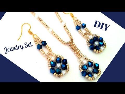 Stylish beaded jewelry. Beaded Jewelry set.Pendant & Earrings