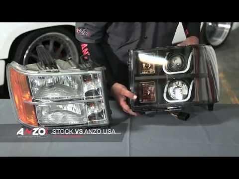 AnzoUSA 2007-2013 GMC Sierra U-Bar Projector Headlight