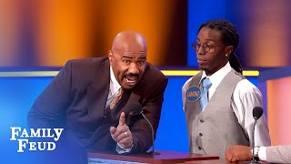Steve Harvey threatens to destroy the set if THIS is up there!   Family Feud