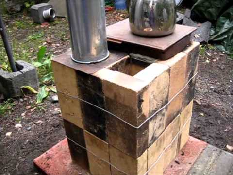 stove - Box Rocket Stove made of bricks. With secondary air intake. Compact mass heater and cook stove. Waiting for a metal cover....