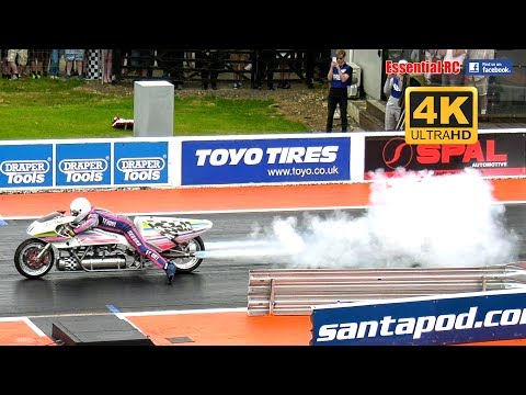 ROCKET BIKE ridden by Eric Teboul @ 261 MPH | Santa Pod FIA MAIN EVENT 2017 [*UltraHD and 4K*]
