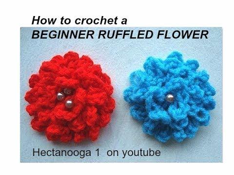 Easy Ruffled Beginner Crochet Flower.