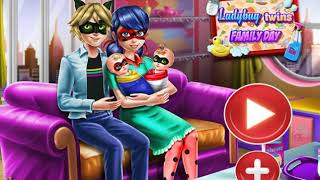 Ladybug twins family day game for baby