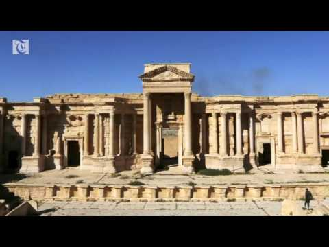 The Tetrapylon, and the facade of its Roman Theatre, reportedly destroyed by IS.