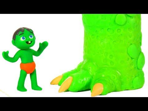 SUPERHERO BABIES MEET MUMMY DINOSAUR  SUPERHERO PLAY DOH CARTOONS FOR KIDS