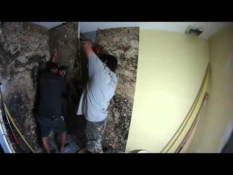 Granite slab shower fabrication