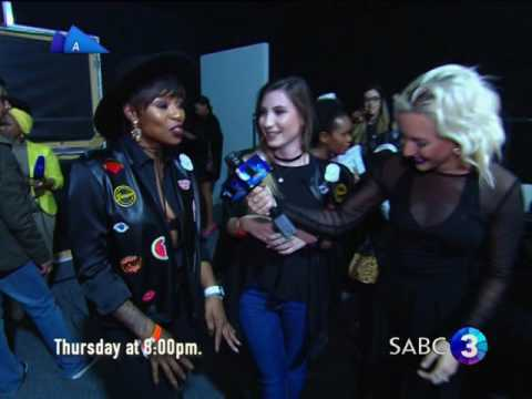 DJ Zinhle and designer Chesney Williams at Mercedes-Benz Fashion Week