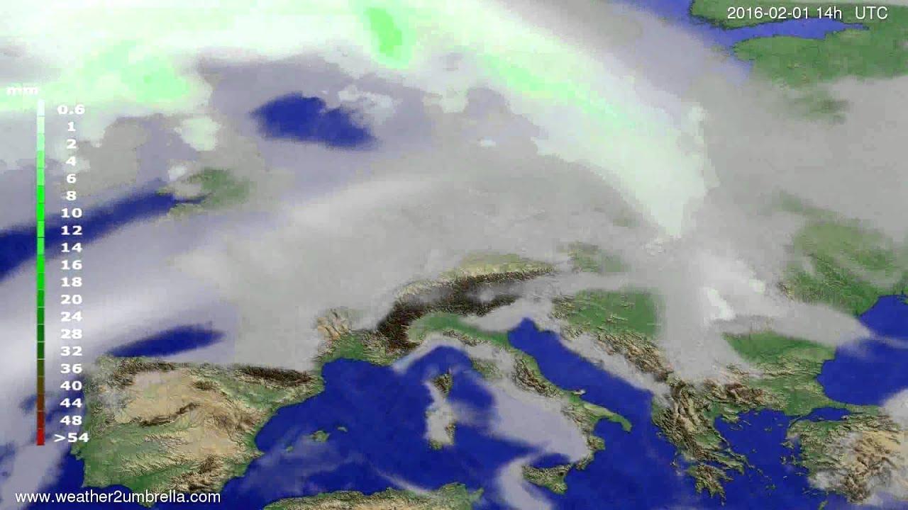 Precipitation forecast Europe 2016-01-28