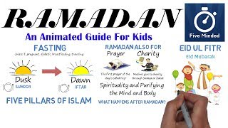 This is my animated narration on Ramadan for kids. Answering Questions such as: What is Ramadan? When is Ramadan? Who celebrates Ramadan? What happens during Ramadan? What happens after Ramadan?When does Ramadan start and end? ** CONNECT WITH ME **Facebook: https://www.facebook.com/5ivemindedTwitter: https://twitter.com/fivemindedPatreon: http://patreon.com/fivemindedWhiteboard Software I use to make my Videos: http://www.sparkol.com?aid=983244Thanks for watching, Please LIKE and SUBSCRIBE if you like my videos.THANKS!!-FivemindedWhat is Ramadan?Ramadan is the ninth month of the Muslim, Islamic calendar, and is a time pray, give charity and also fasting during daylight hours.When does Ramadan Begin?The Islamic calendar is a lunar calendar, and months begin when the first crescent of a new moon is sighted. The Islamic lunar calendar year is 10 to 11 days shorter than the solar year and Ramadan is different from year to year. Many Muslims insist on physically seeing the moon from where they are to mark the beginning of Ramadan. Others use the calculated time of the new moon or the Saudi Arabian declaration to start the month. Since the new moon is not in the same state at the same time all over the world, the beginning and ending dates of Ramadan depend on what lunar sightings are received in each country.Fasting During the month of Ramadan, adult Muslims fast from dusk until dawn, unless they are ill, pregnant, diabetic, breastfeeding, or traveling. The meal before the beginning of the fast is called suhoor, and the meal after sunset is called iftar. Children are not obliged to fast during Ramadan, not until they are close to their teens, but some practice in order to prepare for adult participation. Fasting is one of the 5 Pillars of Islam.The Five Pillars of IslamSawm: Fasting during Ramadan Hajj: A pilgrimage to Mecca at least once in their lifeZakat: Giving to the poor and needySalat: Five daily prayers, facing Mecca Shalada: The declaration of belief in one true