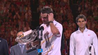 Tennis Highlights, Video - Stan Wawrinka's post-final speech - 2014 Australian Open