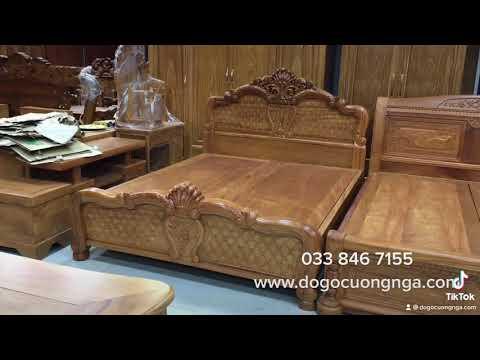 Báo giá giường gỗ gõ đỏ mẫu hoa hồng cao cấp | Đồ Gỗ Cường Nga