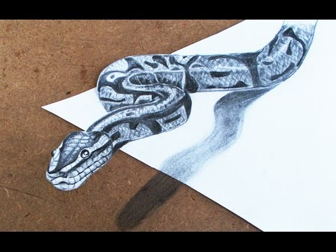 3D Drawings : How To Make 3d Snake Step By Step | Pencil Drawings