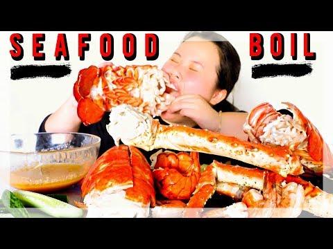 MUKBANG SEAFOOD BOIL! 먹방 (EATING SHOW!) KING CRAB + GIANT LOBSTER + SHRIMP - Thời lượng: 20 phút.