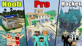 Minecraft: NOOB vs PRO vs HACKER: FAMILY BEACH HOUSE BUILD CHALLENGE / Animation