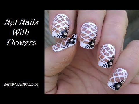NET FRENCH NAIL ART Tutorial / Black & White Nails With Flower Design