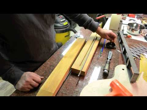 Inside the Luthier's Shop: Cutting the truss rod for a strat tele les paul custom guitar neck