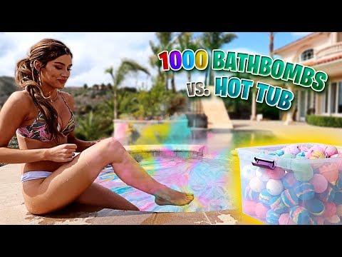 DO NOT PUT 1,000 BATH BOMBS IN A HOT TUB!! (ft. Molly Eskam)