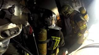 Maniobras de extinción de incendio de interior con ventilación ofensiva, Curso APTB Salamanca