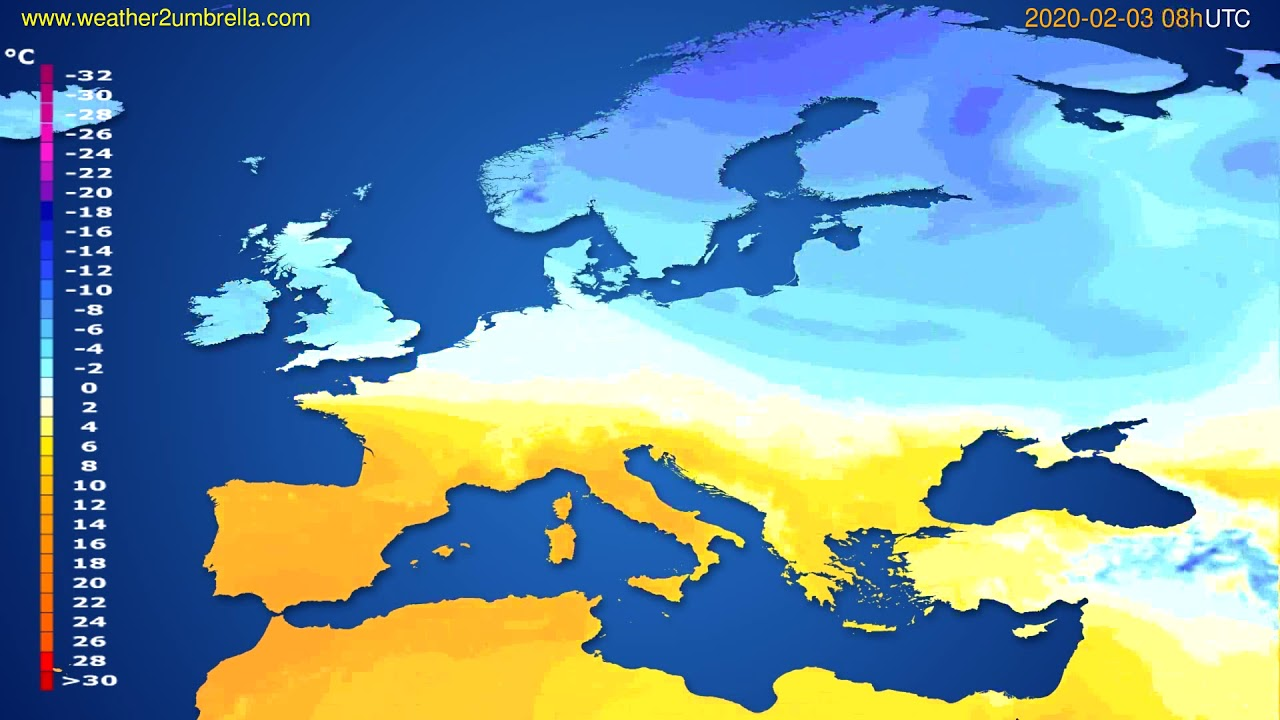 Temperature forecast Europe // modelrun: 12h UTC 2020-02-02