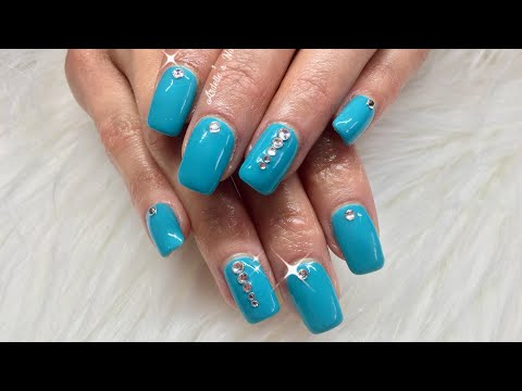 Turquoise Gel Nails with Swarovski Crystals