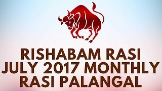 """Rishabam Rasi (Taurus) July Month Astrology Predictions 2017 – July Rasi Palangal 2017 - D NALLA BRAHMARishabam Rasi July Palangal, Rishaba Rasi July Palan, July Month Predictions, July Month Astrology, July Taurus Predictions, July Taurus Rasi Palan, Taurus monthly Astrology PredictionsVrishabha (Taurus), the bull, is the second sign of the zodiac. The bull has been assigned a respected place in most world religions as a symbol of all the auspicious things in life. Social position, security, ease and comforts, wealth, progeny, vitality and a passionate nature are some of the characteristics of this sign. This is so because at this stage the unborn potential (Mesha (Aries)) becomes a creative urge which makes objective manifestation possible. At this stage there is a simultaneous attraction and repulsion which produces tremendous sexuality, materiality, and enjoyment of the pleasures of life. And yet the activity, motion, and adventurous spirit of Mesha (Aries) is lacking here, which makes the person comfort-loving, passive, content, and desirous of staying close to the birthplace rather than moving around in search of new experiences. A bull is physically powerful. It has a tremendous capacity to breed. The very word Vrishabha means any male animal, anything best or eminent in its class. The maleness of Vrishabha (Taurus) symbolizes its role as a storehouse of procreative energy. When engaged hi an activity, the Vrishabha (Taurus) person can work unceasingly at it, even if it is repetitive, till the desired result is achieved. There is a symbiotic relationship between the Vrishabha's individual and his environment. Just as an oak tree becomes a permanent part of its landscape, a Vrishabha (Taurus) will want to """"belong"""" to a permanent scene. Even so there is no satiety and stasis; there is always an urge to be creative and continue the evolutionary movement.Vrishabha (Taurus) is feminine, earthy, and a fixed sign. These characteristics, however, must be carefully un"""
