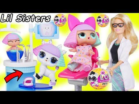 LOL Surprise Dolls + Lil Sisters Take New L.O.L. Pets Series 3 Wave 2 to Barbie Dentist Doctor_Fogorvosi rendelőben. Heti legjobbak