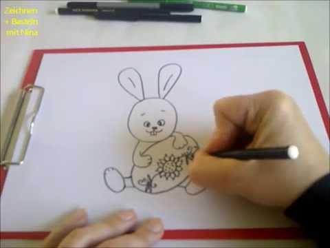 Osterhasenbild   malen – Ein Häschen mit Osterei zeichnen für Anfänger