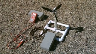 Homemade Wind Turbine Generator! Wind Power Generator. Easy DIY Instructions. items needed: PVC Pipe, propeller blade, DC motor and wire. Stand is made of 3/...