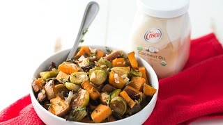 Roasted sweet potatoes and Brussels sprouts may seem like a strange combo, but these two veggies are a match made in foodie heaven! Finish with grated ...