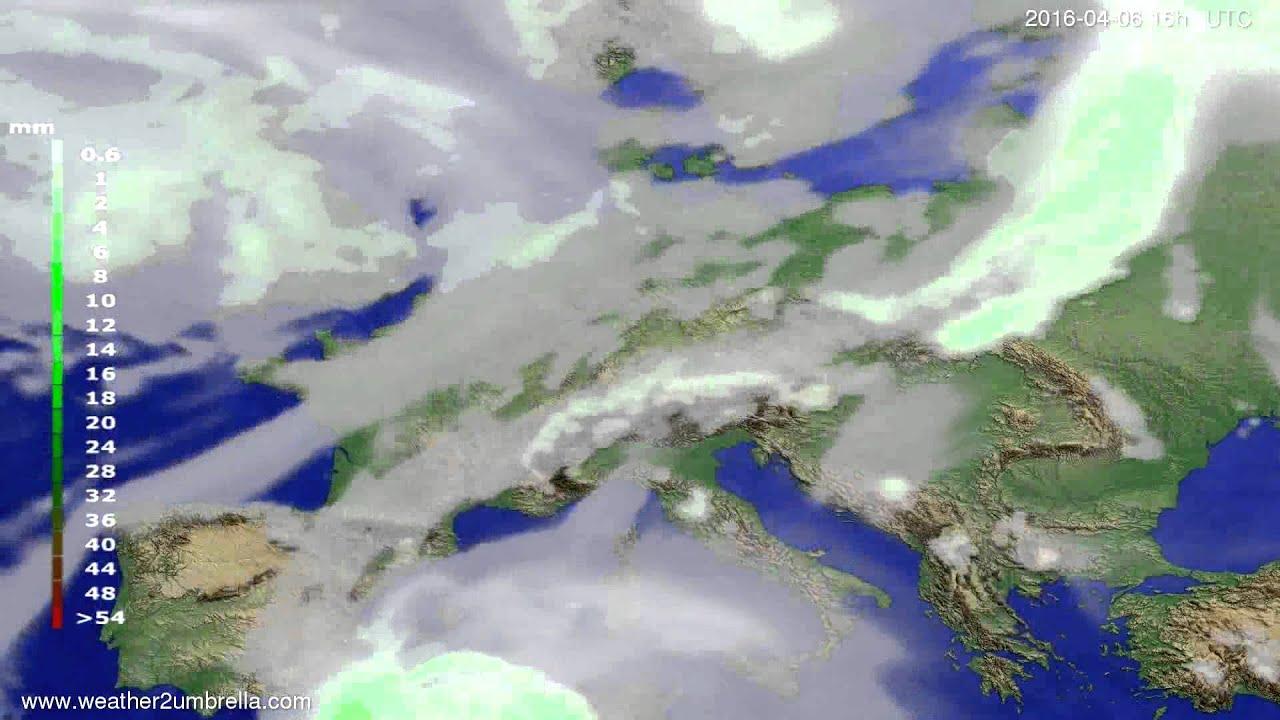 Precipitation forecast Europe 2016-04-03