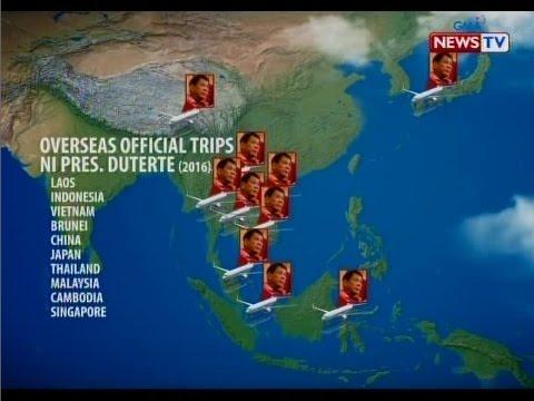 SONA: Gobyerno, gumastos ng P277-M sa official foreign trips ni Pres. Duterte noong 2016