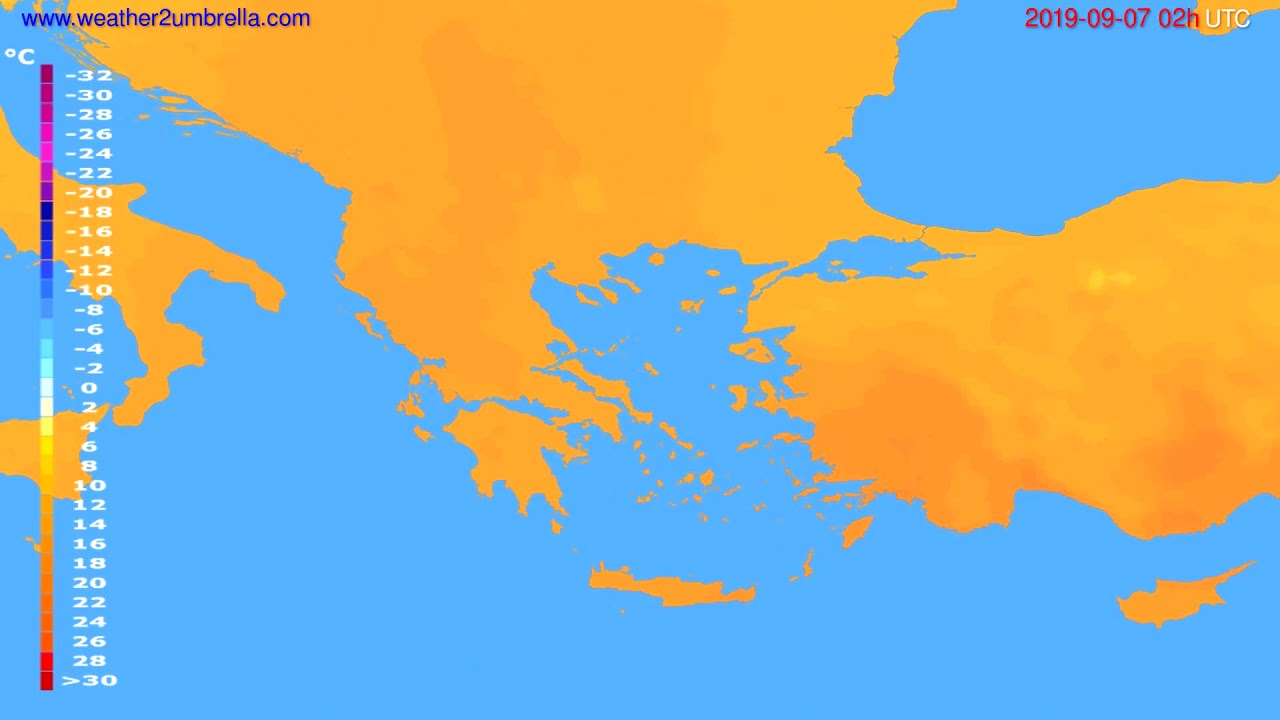 Temperature forecast Greece // modelrun: 12h UTC 2019-09-04