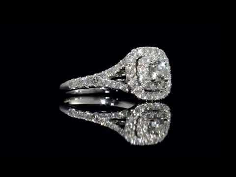 Diamond Double Halo Engagement Ring 1.0 Carat (ctw) in 14K White Gold
