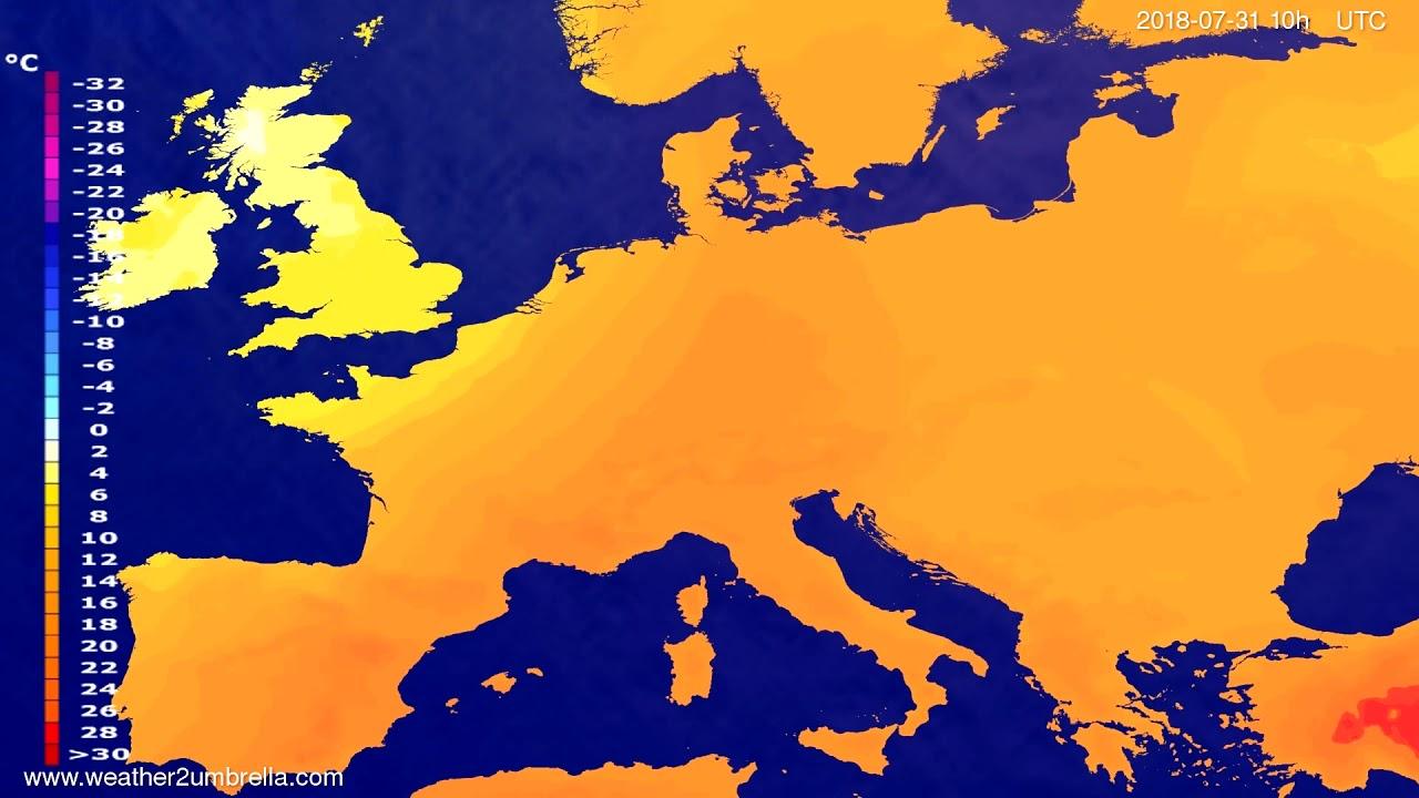 Temperature forecast Europe 2018-07-28