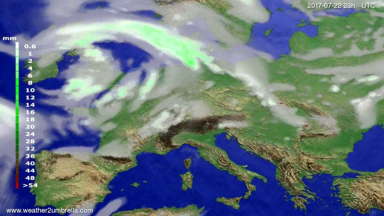 Precipitation forecast Europe 2017-07-19