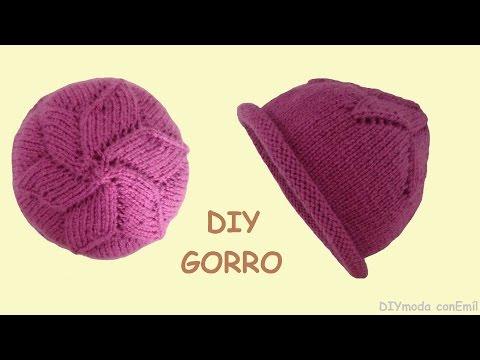 GORRO - Gorro con dos agujas. Cómo tejer gorro con estrella para mujer, paso a paso.