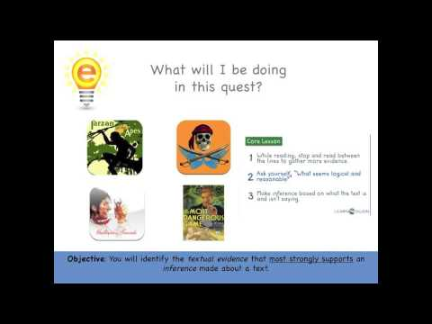eSpark Learning: Identifying Textual Evidence Framing Video (7.RL.1 Quest 1)